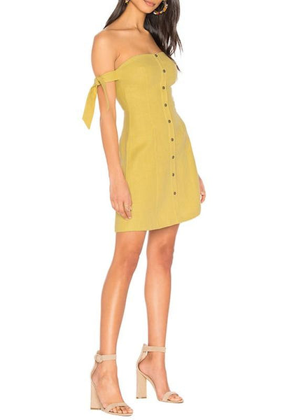 Casual Yellow Bandeau Backless Single Breasted Zipper Off Shoulder Party Mini Dress