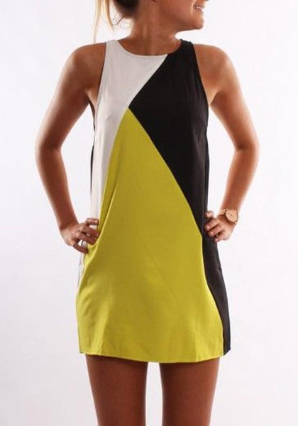 Casual Yellow Color Block Casual Round Neck Sleeveless Mini Dress