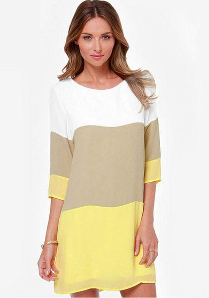 Casual Yellow Color Block Print Three Quarter Length Sleeve Chiffon Dress
