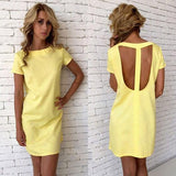ByChicStyle Casual Yellow Cut Out Round Neck Short Sleeve Casual Mini Dress