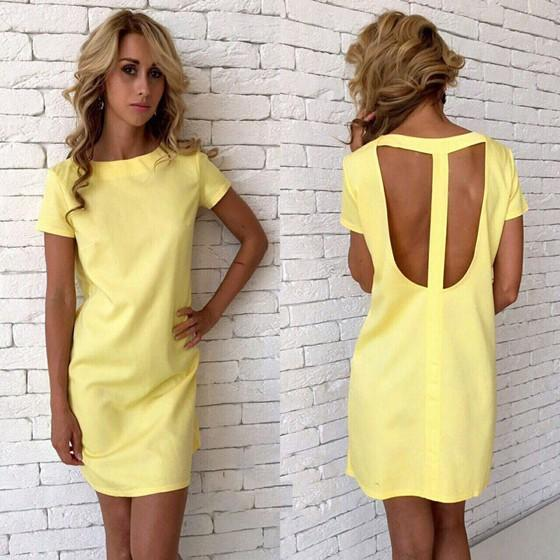 Casual Yellow Cut Out Round Neck Short Sleeve Casual Mini Dress