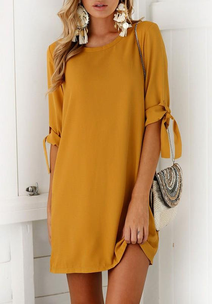 Casual Yellow Draped Round Neck Short Sleeve Fashion Mini Dress