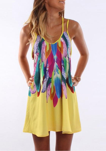 Yellow Floral Colorful Feather Spaghetti Strap Print U-neck Casual Plus Size Mini Dress