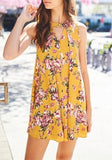 ByChicStyle Casual Yellow Floral Draped Cut Out Round Neck Sleeveless Mini Dress