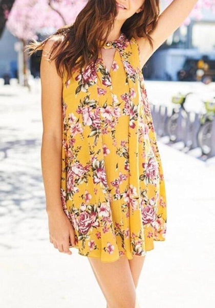 Casual Yellow Floral Draped Cut Out Round Neck Sleeveless Mini Dress