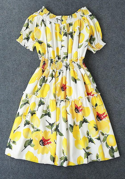 Casual Yellow Floral Draped Off Shoulder Short Sleeve Fashion Mini Dress