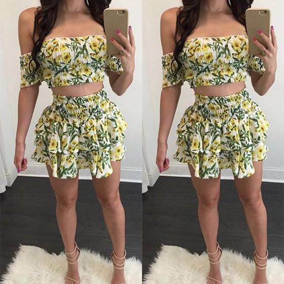 Casual Yellow Floral Pleated 2-in-1 Bandeau Short Sleeve Mini Dress