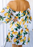 ByChicStyle Casual Yellow Floral Print Bandeau Boat Neck Fashion Mini Dress