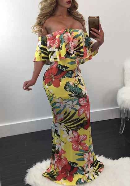Casual Yellow Flowers Print Ruffle Off Shoulder Bohemian Floor Length Maxi Dress