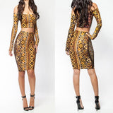 ByChicStyle Yellow Geometric Cut Out 2-in-1 Boat Neck Long Sleeve Off Shoulder Bodycon Party Mini Dress