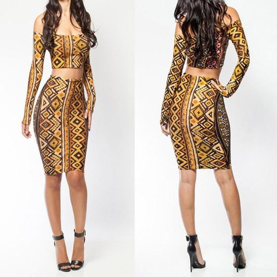 Yellow Geometric Cut Out 2-in-1 Boat Neck Long Sleeve Off Shoulder Bodycon Party Mini Dress