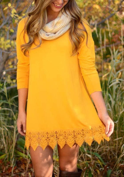 Casual Yellow Patchwork Lace Draped Round Neck Long Sleeve Mini Dress