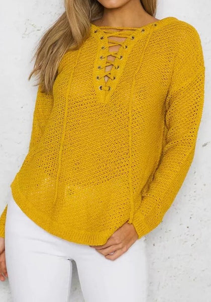 Casual Yellow Patchwork Lace-up Irregular V-neck Long Sleeve Pullover Sweater