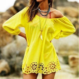 ByChicStyle Casual Yellow Plain Boat Neck Elbow Sleeve Sweet Mini Dress