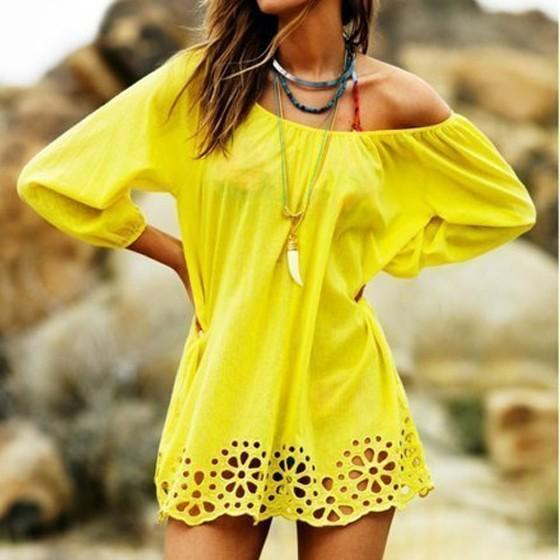 Casual Yellow Plain Boat Neck Elbow Sleeve Sweet Mini Dress