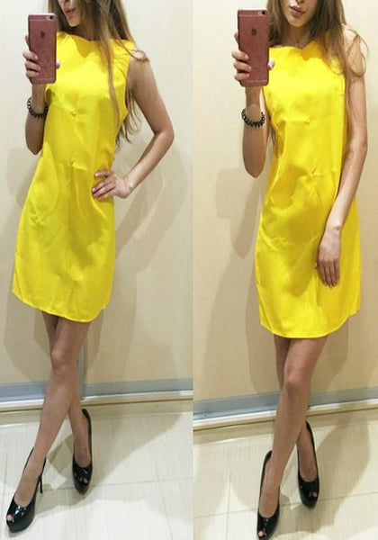 Casual Yellow Plain Draped Round Neck Casual Cotton Blend Mini Dress