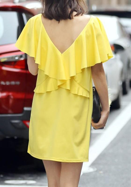 Casual Yellow Plain Draped V-Back Neck Casual Polyester Mini Dress
