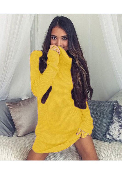 Casual Yellow Plain High Neck Casual Mini Dress