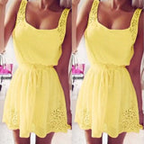 ByChicStyle Casual Yellow Lace Hollow-out U-neck Drawstring Waist Sleeveless Skater Mini Dress