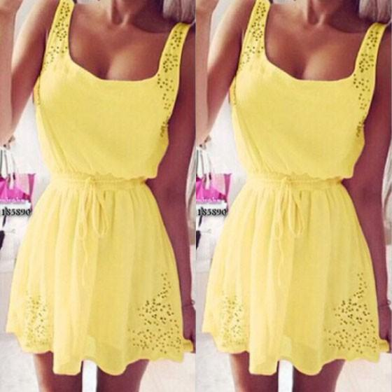 Casual Yellow Lace Hollow-out U-neck Drawstring Waist Sleeveless Skater Mini Dress