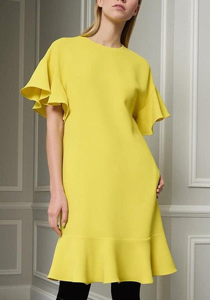 Casual Yellow Plain Ruffle Round Neck Casual Mini Dress