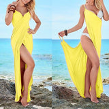 ByChicStyle Casual Yellow Pleated Deep V Sleeveless Slim Maxi Dress