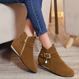 ByChicStyle Casual Yellow Round Toe Flat Pearl Zipper Casual Ankle Boots