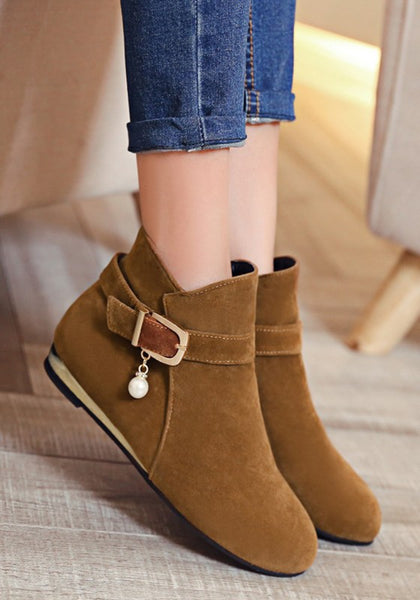 Casual Yellow Round Toe Flat Pearl Zipper Casual Ankle Boots