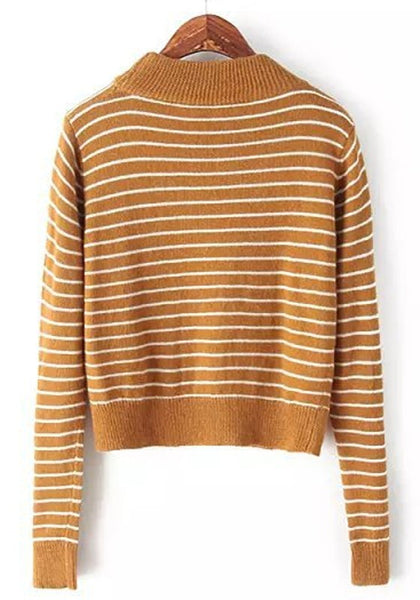 Casual Yellow Striped Long Sleeve Pullover