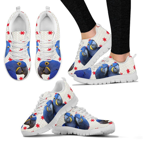 Hyacinth Macaw Parrot Print Christmas Running Shoes For Women-Free Shipping-Paww-Printz-Merchandise