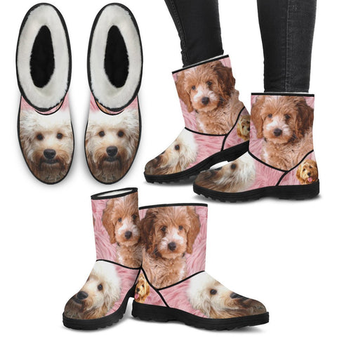 Cockapoo Print Faux Fur Boots For Women- Free Shipping-Paww-Printz-Merchandise