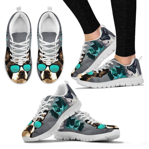 Boston Terrier With Glasses Print Sneakers For Women- Free Shippping-Paww-Printz-Merchandise