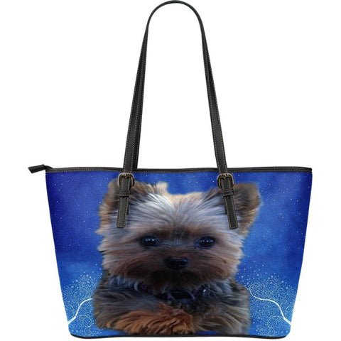 Yorkshire Dog-Large Leather Tote Bag-Free Shipping-Paww-Printz-Merchandise