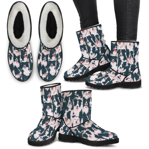 Border Collie Print Faux Fur Boots For Women-Free Shipping-Paww-Printz-Merchandise