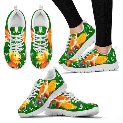 Amazing Goldfish Print Christmas Running Shoes For Women- Free Shipping-Paww-Printz-Merchandise