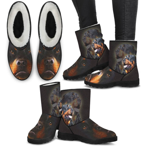Rottweiler Print Faux Fur Boots For Women-Free Shipping-Paww-Printz-Merchandise