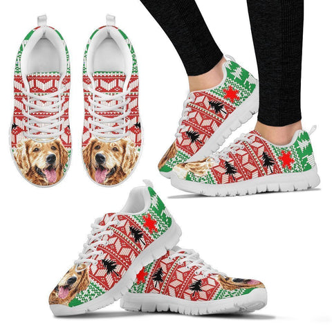 Golden Retriever Christmas Running Shoes For Women- Free Shipping-Paww-Printz-Merchandise