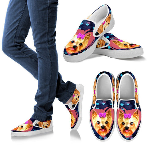 Valentine's Day Special-Yorkshire Terrier (Yorkie) Print Slip Ons Shoes For Women-Free Shipping-Paww-Printz-Merchandise