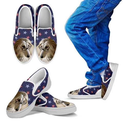 Afghan Hound Dog Print Slip Ons For Kids-Express Shipping-Paww-Printz-Merchandise
