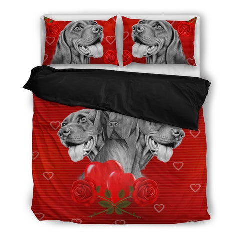 Valentine's Day Special-Vizsla On Red Bedding Set-Free Shipping-Paww-Printz-Merchandise