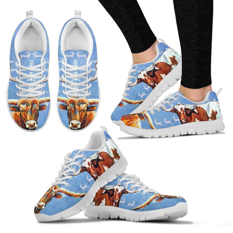 Texas Longhorn Cattle Cow Christmas Running Shoes For Women- Free Shipping-Paww-Printz-Merchandise