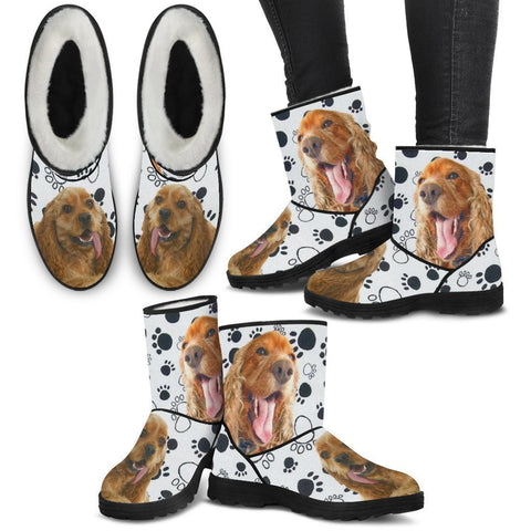 Cocker Spaniel Print Faux Fur Boots For Women-Free Shipping-Paww-Printz-Merchandise