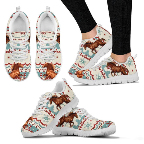 Barb Horse Christmas Running Shoes For Women- Free Shipping-Paww-Printz-Merchandise