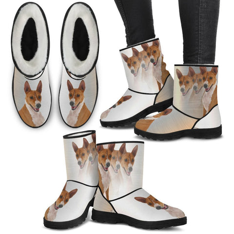 Basenji Print Faux Fur Boots For Women-Free Shipping-Paww-Printz-Merchandise