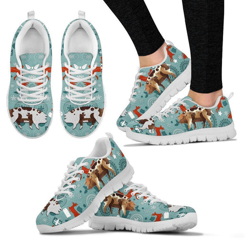Bentheim Black Pied Pig Christmas Running Shoes For Women- Free Shipping-Paww-Printz-Merchandise