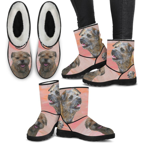 Border Terrier Print Faux Fur Boots For Women-Free Shipping-Paww-Printz-Merchandise