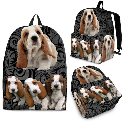 Basset Hound With Puppies Print BackPack - Express Shipping-Paww-Printz-Merchandise
