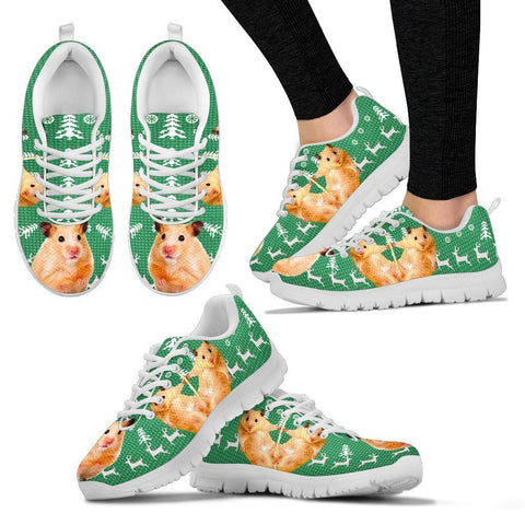 Golden Hamster(Syrian Hamster) Print Christmas Running Shoes For Women- Free Shipping-Paww-Printz-Merchandise