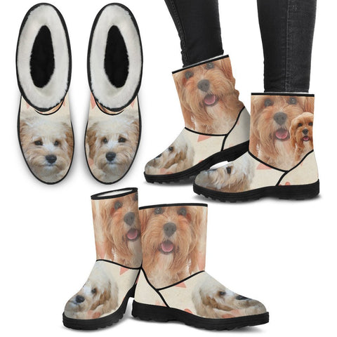 Cavapoo Print Faux Fur Boots For Women-Free Shipping-Paww-Printz-Merchandise
