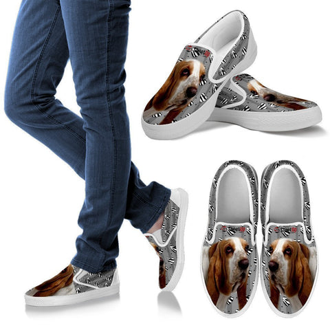 Basset Hound Hearts Print Slip Ons For Women-Free Shipping-Paww-Printz-Merchandise